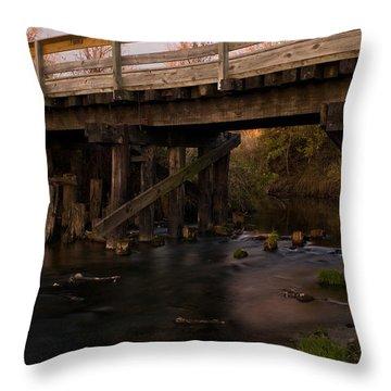 Sugar River Trestle Wisconsin Throw Pillow by Steve Gadomski