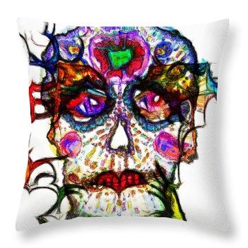 Sugar Skull Blues Throw Pillow