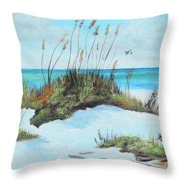 Sugar White Beach Throw Pillow