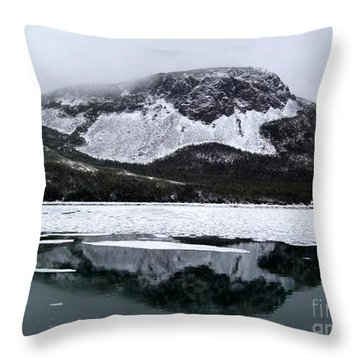 Sugarloaf Hill Reflections In Winter Throw Pillow by Barbara Griffin