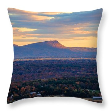 Sugarloaf View, South Deerfield, Ma Throw Pillow