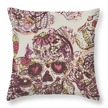 Sugarskull Punk Patchwork Throw Pillow