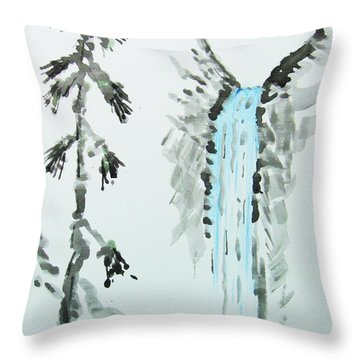 Throw Pillow featuring the painting Sugi To Taki by Roberto Prusso
