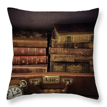 Suitcase Full Of Books Throw Pillow