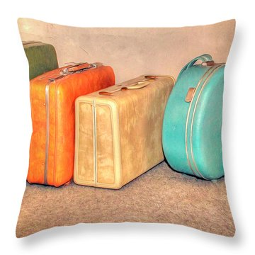 Suitcases Throw Pillow by Marion Johnson