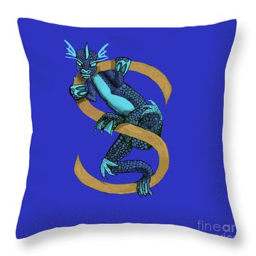Sukio Letter S Throw Pillow by Donna Huntriss