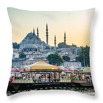 Suleymaniye Mosque At Sunset Throw Pillow
