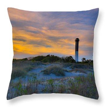 Sullivan's Island Lighthouse At Dusk - Sullivan's Island Sc Throw Pillow