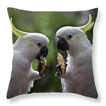 Sulphur Crested Cockatoo Pair Throw Pillow by Avalon Fine Art Photography