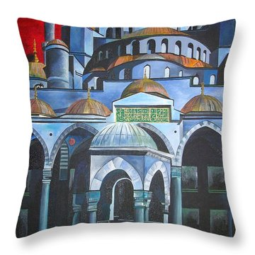 Sultan Ahmed Mosque Istanbul Throw Pillow by Tracey Harrington-Simpson