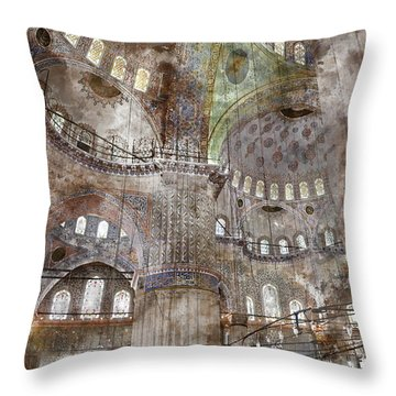 Sultanahmet Mosque Interior In Istanbul Turkey Throw Pillow by Brandon Bourdages