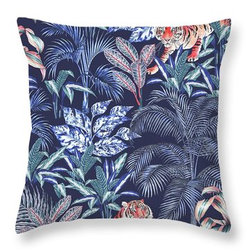 Sumatran Tiger, Blue Throw Pillow