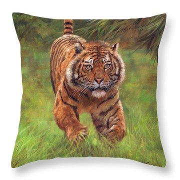 Sumatran Tiger Running Throw Pillow