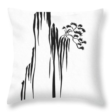 Sumi-e - Bonsai - One Throw Pillow