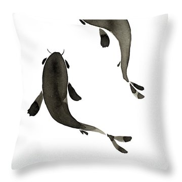 Sumi-e - Koi - One Throw Pillow