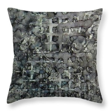 Throw Pillow featuring the painting Sumi Squares Ink #11 by Sarajane Helm