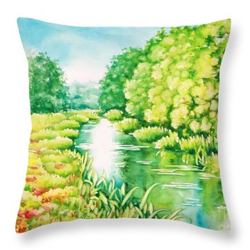 Summer Along The Creek Throw Pillow