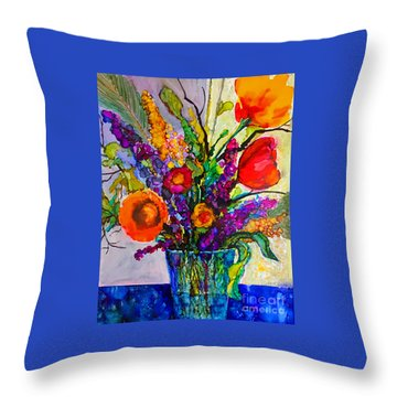 Throw Pillow featuring the painting Summer Arrangement by Priti Lathia