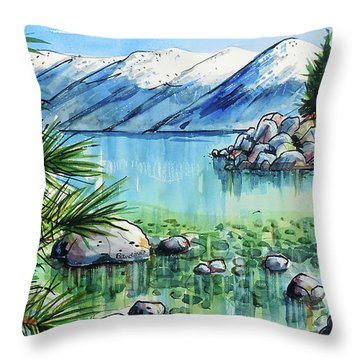 Throw Pillow featuring the painting Summer At Lake Tahoe by Terry Banderas