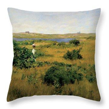 Summer At Shinnecock Hills Throw Pillow by William Merritt Chase