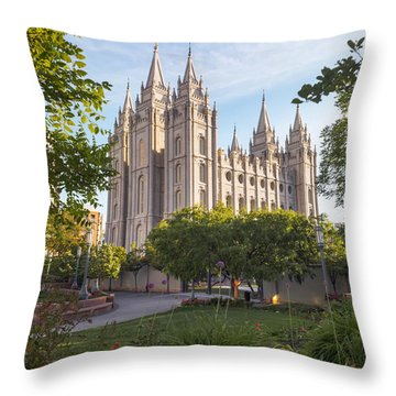 Summer At Temple Square Throw Pillow