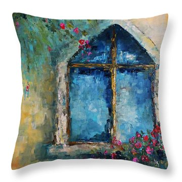 Throw Pillow featuring the painting Summer At The Old Castle by AmaS Art