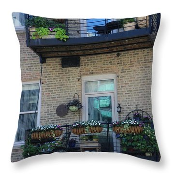 Summer Balconies In Chicago Illinois Throw Pillow