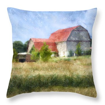 Throw Pillow featuring the digital art Summer Barn by Francesa Miller