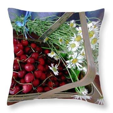 Summer Basket Throw Pillow by Vicky Tarcau