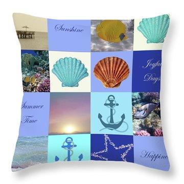 Summer Beach House Collage Throw Pillow