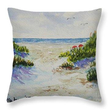 Summer Beach Throw Pillow