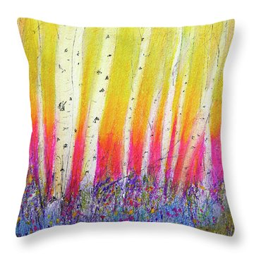 Summer Birch  Throw Pillow by Linde Townsend