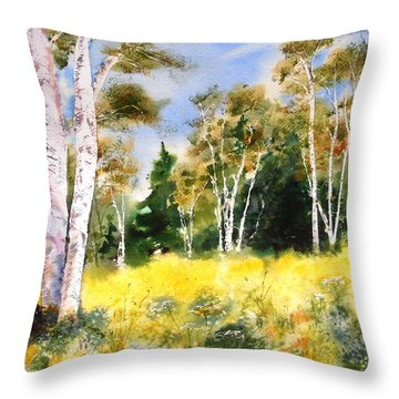 Summer Birches Throw Pillow