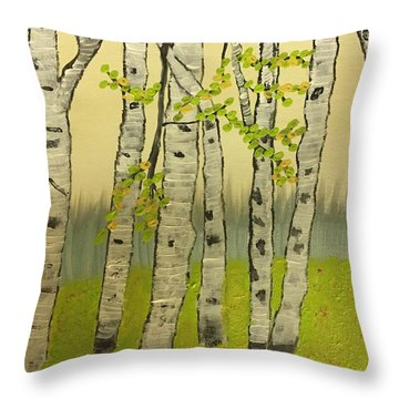 Throw Pillow featuring the painting Summer Birches by Paula Brown