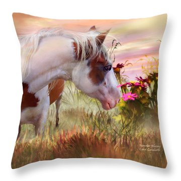 Throw Pillow featuring the mixed media Summer Blooms by Carol Cavalaris