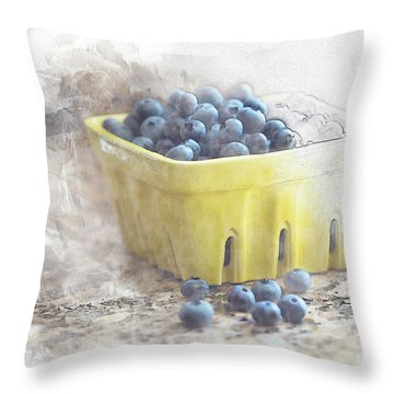 Throw Pillow featuring the digital art Summer Blueberries by Sue Collura