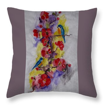 Summer Bluebirds Throw Pillow