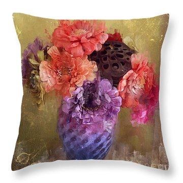Throw Pillow featuring the digital art Summer Bouquet by Alexis Rotella