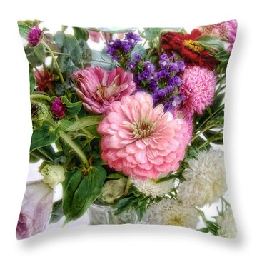 Summer Bouquet Throw Pillow by Louise Kumpf