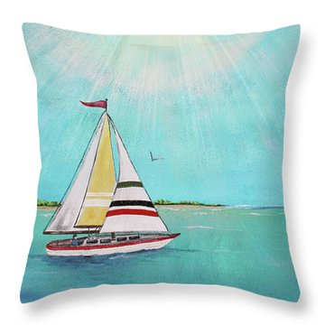 Throw Pillow featuring the painting Summer Breeze-b by Jean Plout