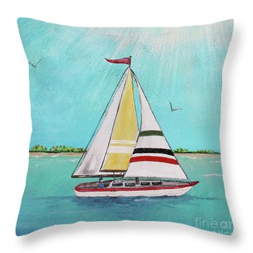 Throw Pillow featuring the painting Summer Breeze-d by Jean Plout