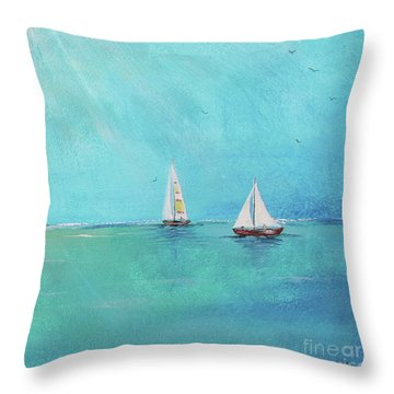 Throw Pillow featuring the painting Summer Breeze-e by Jean Plout