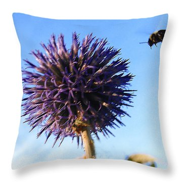 Throw Pillow featuring the photograph Summer Busy Bee by Roger Bester
