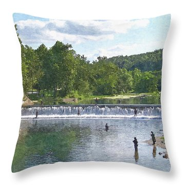 Summer By The Spillway Throw Pillow by Julie Grace