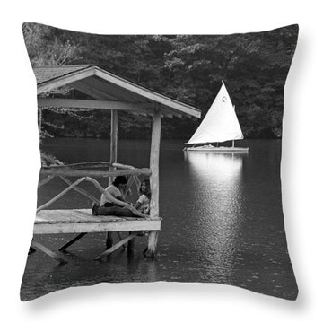Summer Camp Black And White 1 Throw Pillow