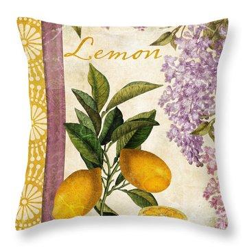 Summer Citrus Lemon Throw Pillow