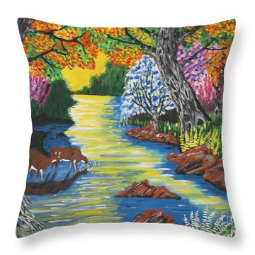 Summer  Deer Crossing Throw Pillow