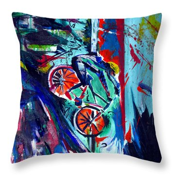 Throw Pillow featuring the painting Summer Cycling by John Jr Gholson