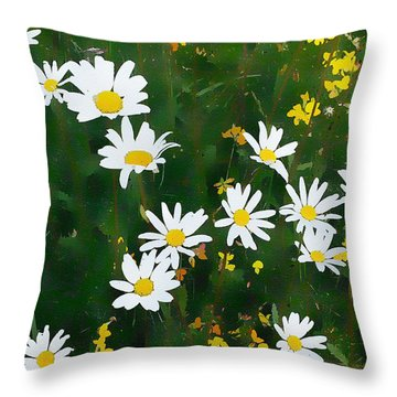 Throw Pillow featuring the digital art Summer Daisies by Julian Perry