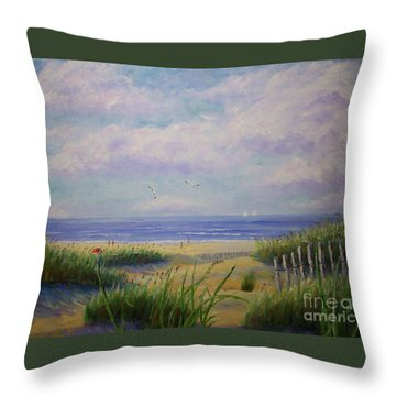 Summer Day At The Beach Throw Pillow
